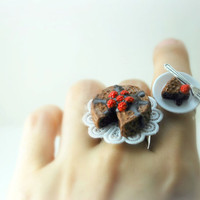 Chocolate Torte Cake Rings Best friend Jewlery by DIVINEsweetness