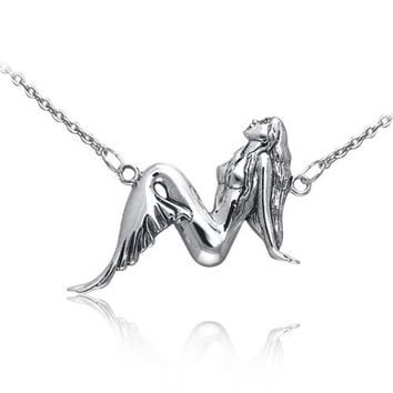 Bling Jewelry Sterling Silver Mermaid Pendant Necklace