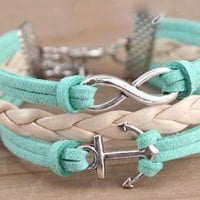 Teal and White Anchor Rope and Infinity Stacked Bracelet