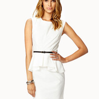 Peplum Sheath Dress w/ Studded Belt
