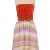 Belted High-Low Striped Skirt Tube Dress