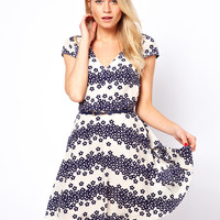 Oasis Daisy Stripe Skater Dress