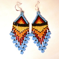 Native American Beaded Earrings Inspired. Dangle Long Earrings. Yellow, Orange, Red, Black and Blue Earrings. Beadwork