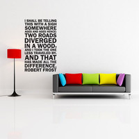 Vinyl Wall Decal Sticker Art - Robert Frost Two Roads Diverged - Subway Style Mural
