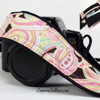 Camera Strap with Pocket, Pink Paisley