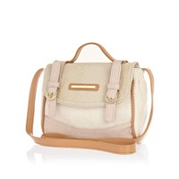 Girls cream color block satchel - bags - girls