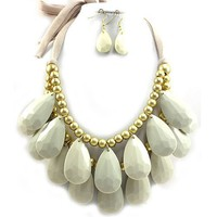 Tear Drop Charms and Beads Scarf Necklace & Earrings Set - Bubble BIB Statement - Choose from Several Colors!