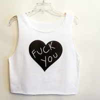 F you heart  crop tank shirt