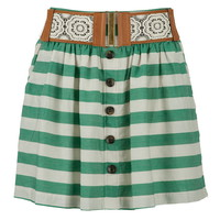 Belted Button Front Striped Skirt