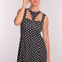 Black White Polka Dot Printed Dress