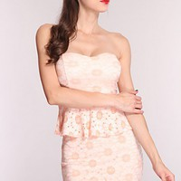 Peach Multi Floral Knitted Peplum Dress