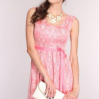 Rose White Lace Design V Back Dress