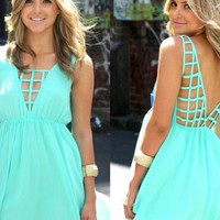 Mint Sleeveless Dress with Front & Back Netting Detail