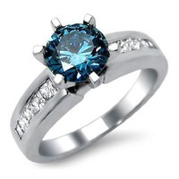 Amazon.com: 1.40ct Blue Round Diamond Engagement Ring 14k White Gold: Jewelry
