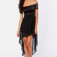 Kiss on the Chic Black Off-the-Shoulder Dress