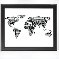 Wanderlust Travel Typography Modern World Map 8x10 Black and White Art Print