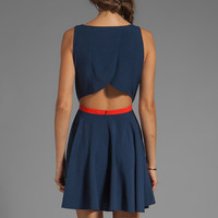 BB Dakota Royer Contrast Trim Cross Back Dress in Ink from REVOLVEclothing.com