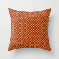 Rich Orange and Gold Retro Feeling Diamonds and Squares Pattern Throw Pillow by Jaclinart
