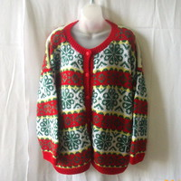 Vintage handknit cardigan sweater in red, green, white and yellow