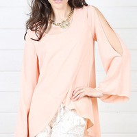 Peach Slit Sleeve Top and Shop Tops at MakeMeChic.com