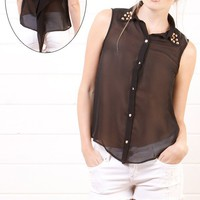 THT1207A Black Spike Collar Sleeveless Top and Shop Apparel at MakeMeChic.com