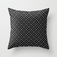 Black and Silver Modern Diamonds Pattern Throw Pillow by Jaclinart
