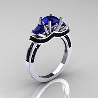 French 14K White Gold Three Stone Blue Sapphire Black Diamond Wedding Ring, Engagement Ring R182-14KWGBDBS