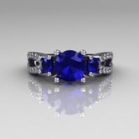 Modern French Bridal 10K White Gold Three Stone 1.0 Carat Blue Sapphire Accent Diamond Engagement Ring R140-10WGDBS