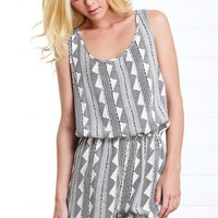 Black Dotted Tribal Romper and Shop Rompers and Jumpsuits at MakeMeChic.com