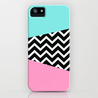 Pastel Miami Vice Pink Blue Chevron iPhone Case iPhone & iPod Case by RexLambo
