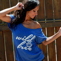 Wild & Free.  Wide Shoulder Heathered Flowy Tee.  Sizes XS-XXL.