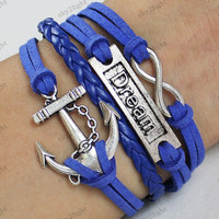 blue rope bracelets,anchor bracelets,dream bracelets,Charm Bracelet-- Friendship Gift-Personalized Bracelet