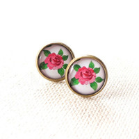 Floral Earrings - Rose Stud Earrings - Flower Jewelry - Pink Rose Earring Posts - Pink Rose Green Flowers