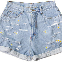 Embroidered Daisy Flower 70s Shorts Vintage Distressed High Waisted Denim Boho Coachella Hipster Small Medium W28