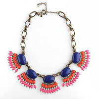 Blue Coral Pink Beaded Fan Fringe Statement Bib Necklace wholesale