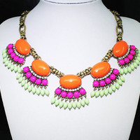 Orange Rose Green Fan Fringe Statement Bib Necklace wholesale