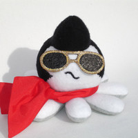 Elvis octopus plush with red scarf and glitter sunglasses