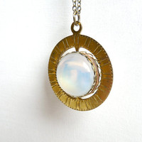 Constellation spinning necklace pendant ( geometric, planet, translucent, white, round, opal ) 12
