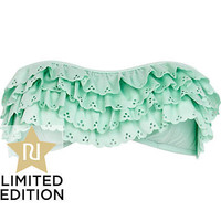 Mint green scalloped bandeau bikini top