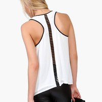 Leather Trim Tank - Off White