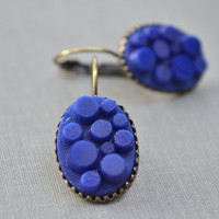 Royal Blue Glass Cabochon Earrings, Antiqued Brass Lever Back, Geometeric Earrings,  Blue Lego Oval
