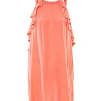 Orange Chiffon Tank Dress with Beads Embellished Neck