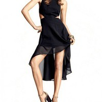 High Low Chiffon Tank Dress with Cut-away Waist