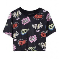 Cropped T-shirt with Cartoon Letter Print
