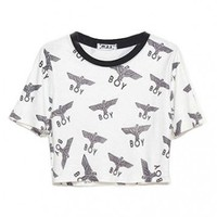 White Cropped T-shirt Top with Eagle BOY Print