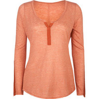 FULL TILT Crochet Trim Womens Henley