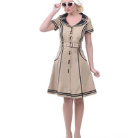 Beige & Black Airline Swing Dress - Unique Vintage - Prom dresses, retro dresses, retro swimsuits.