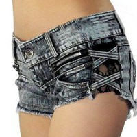 lulula-fashion shopping mall —Retro sexy lace stitching zipper torn burrs denim shorts