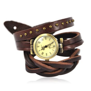 BADE Unisex Leather Wrap Watch Color Dark Brown