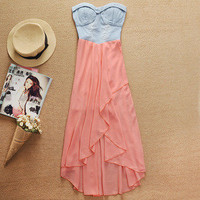 lulula-fashion shopping mall —DENIM splicing chiffon irregular dress